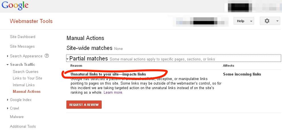Google Webmaster Tools Manual Action Penalty