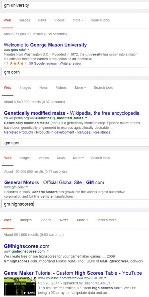 GM Google search results