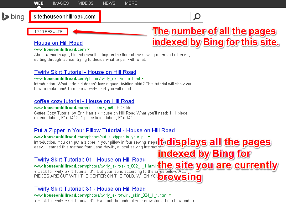 Gives You a List With All The Pages Indexed by Bing For The Current Site