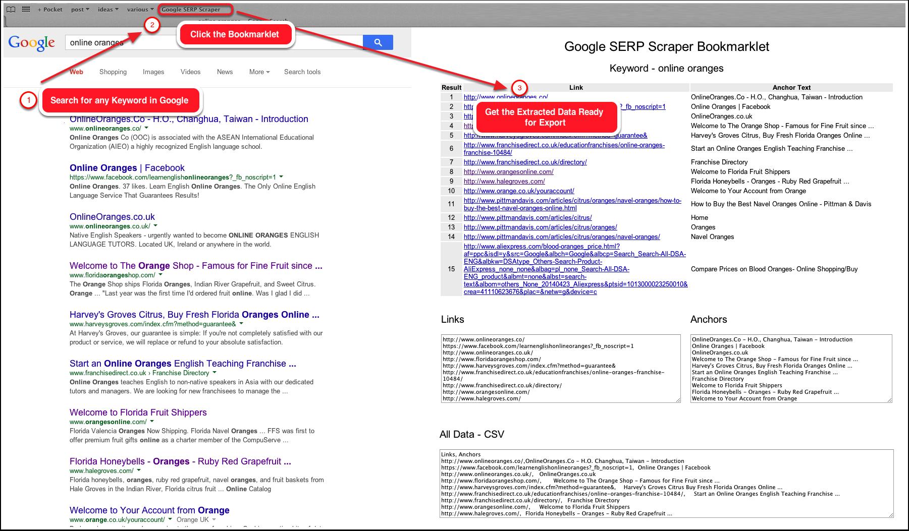 Google Serp Scraper Bookmarklet