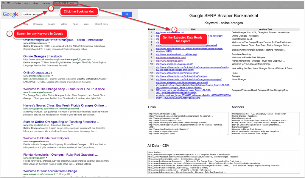 Google SERP Scraper Bookmarklet