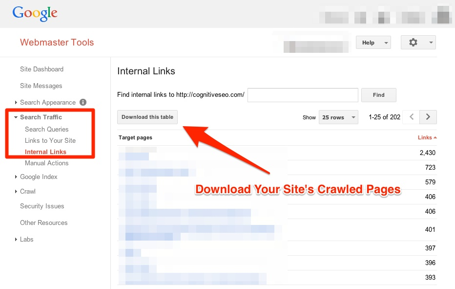 Google Webmaster Tools Download Crawled Pages
