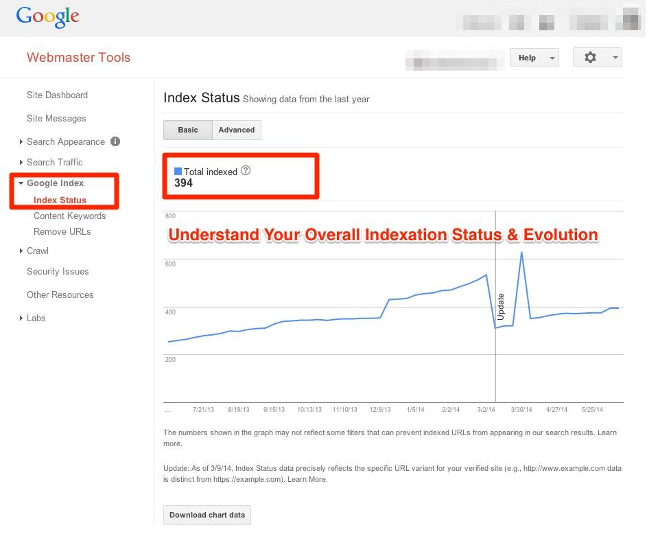 Google Webmaster Tools Indexation Status