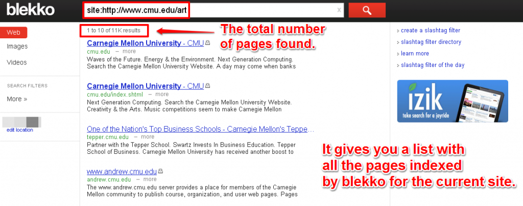 Shows You All The Pages Indexed by Blekko For The Current Site