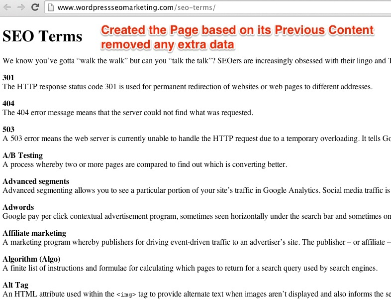 SEO Terms Example
