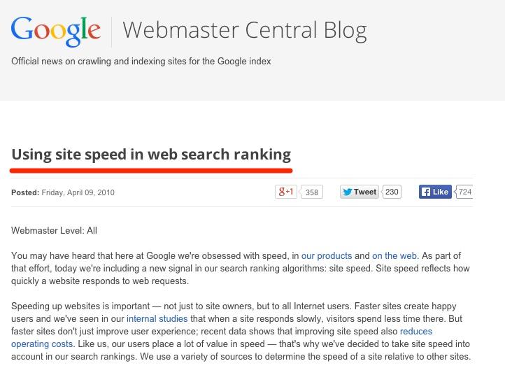 """""""Google Webmaster Blog"""" svetainės greičio reitingavimo veiksniai"""