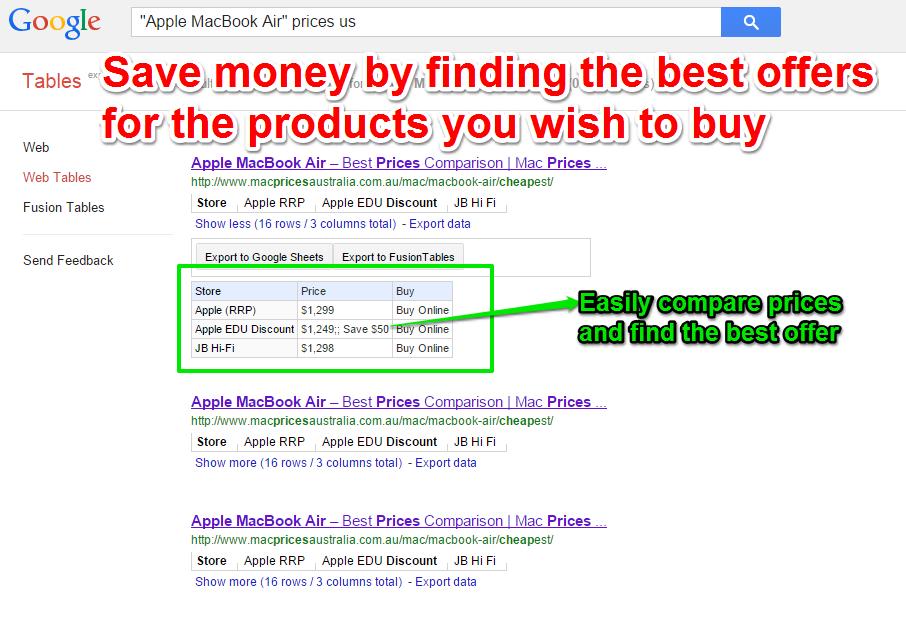 """""""Google"""" lentelės palygina kainas"""