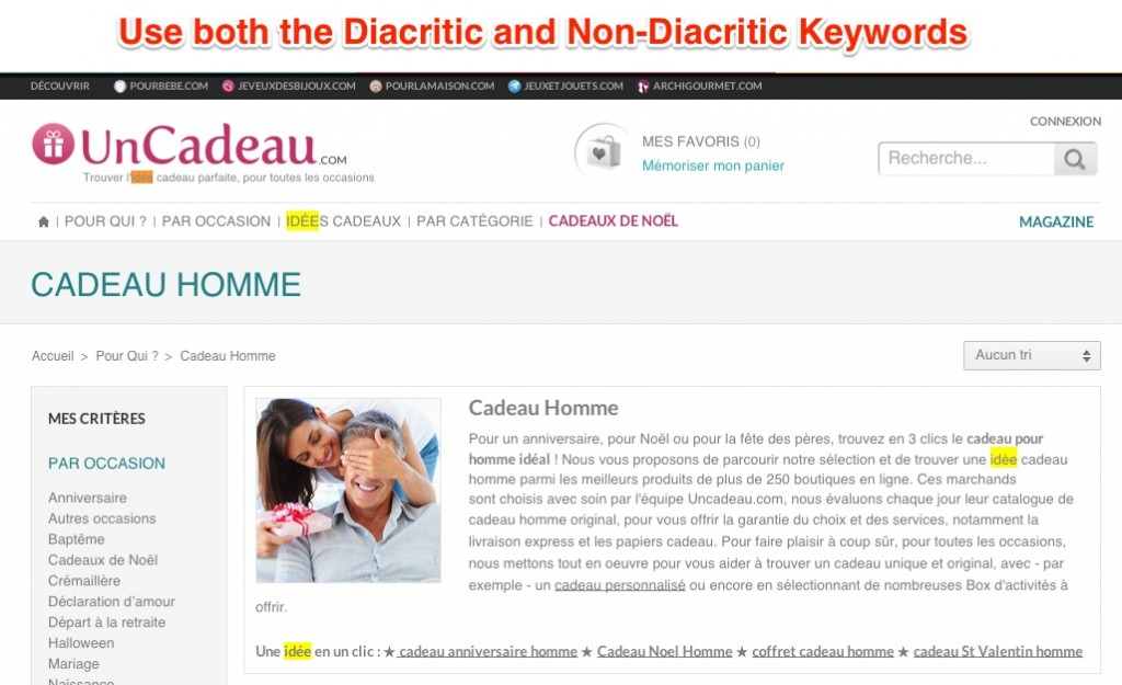 Both Diacritic and Non Diacritic Keywords
