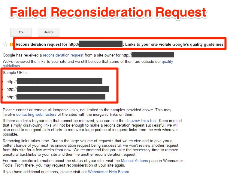 GWT Reconsideration Request- Message from Google