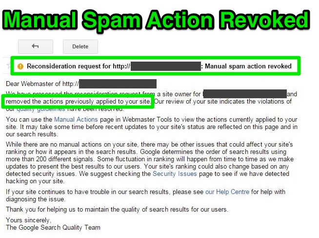 Manual Spam Action Revoked