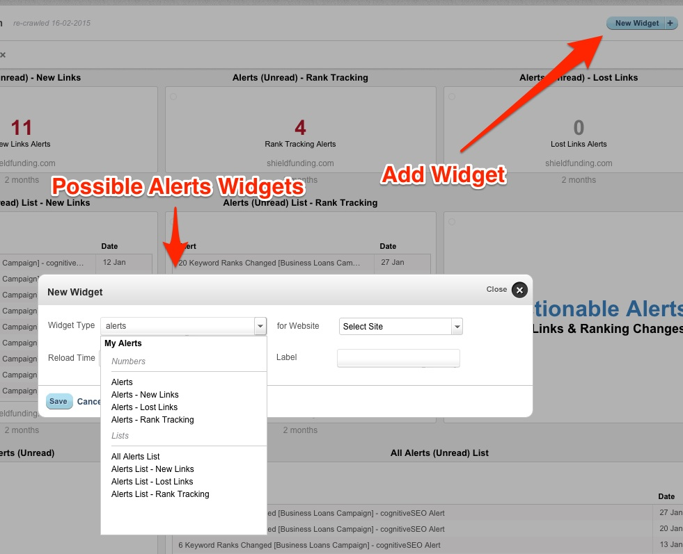 Alerts Widgets cognitiveSEO