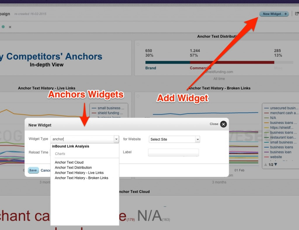 Anchors Widgets cognitiveSEO