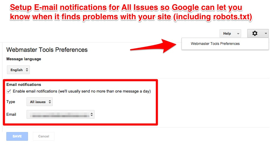 Google Webmaster Tools Notifications