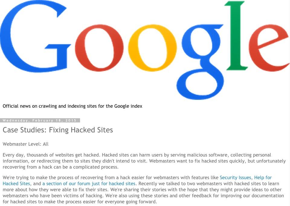 """""""Google"""" nulaužtų svetainių taisymas - atvejų analizė"""