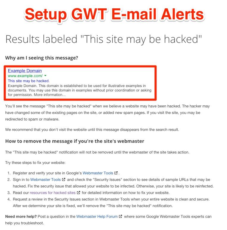 Nustatykite GWT el. Pašto įspėjimus