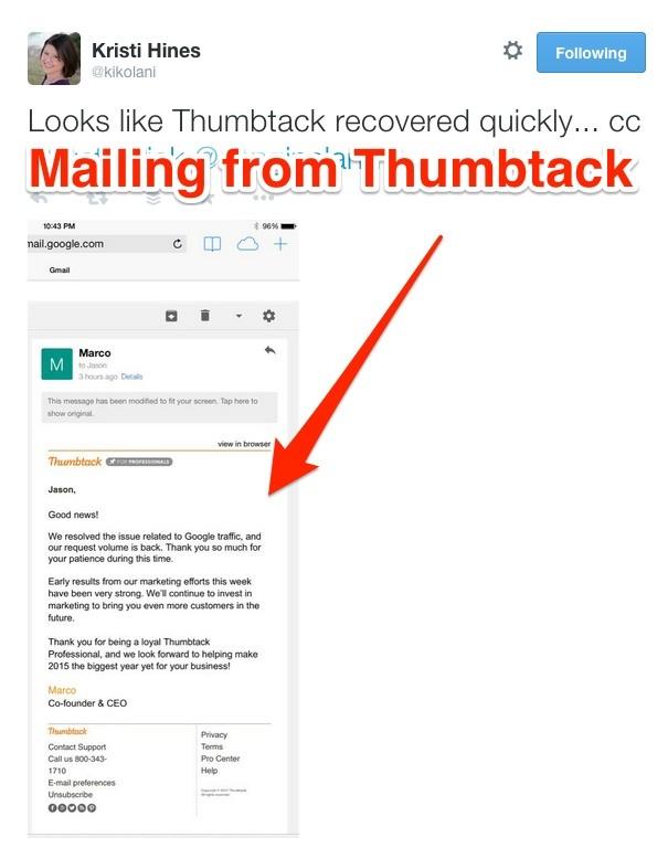 Thumbtack Mailing