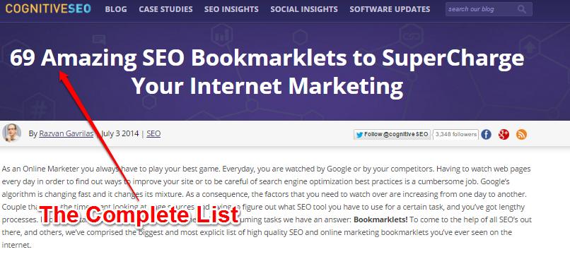 Sąrašai - 69 nuostabios SEO rinkodaros interneto rinkodarai