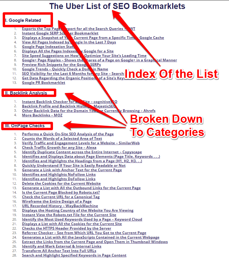 Lists - 69 Amazing SEO Bookmarklets for Internet Marketing_Index