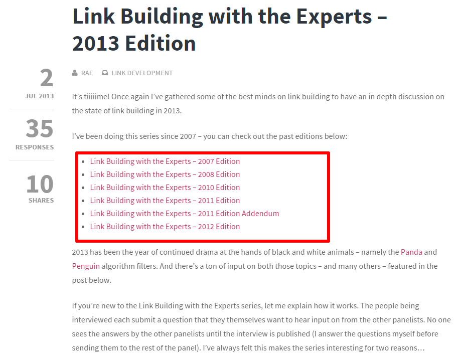 Refresh and Update Old Content - Link Building With the Experts