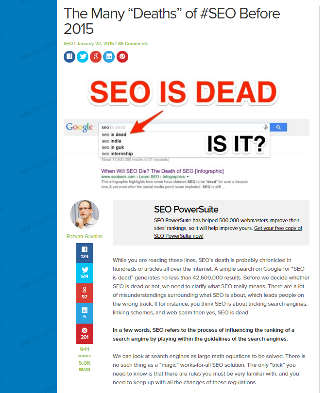 Rethink a Common Viewpoint - Many Deaths of SEO Before 2015