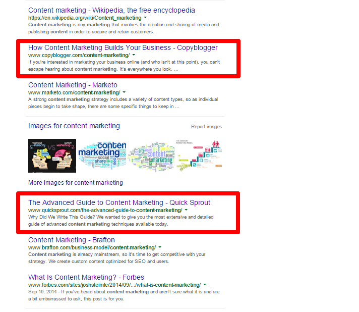 Content Marketing Google Search for Blogs