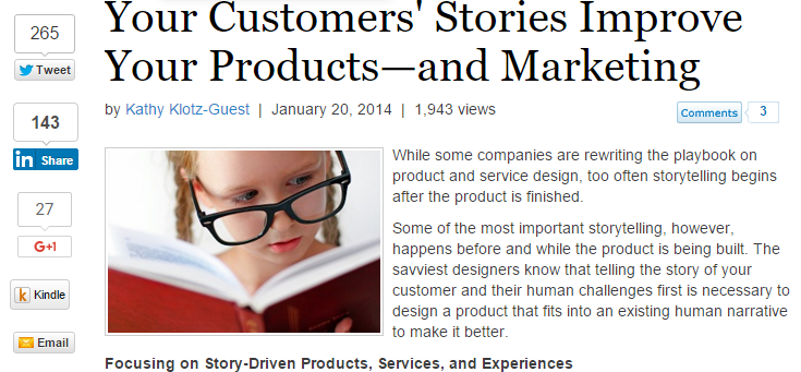 Customers' Stories Improve Marketing