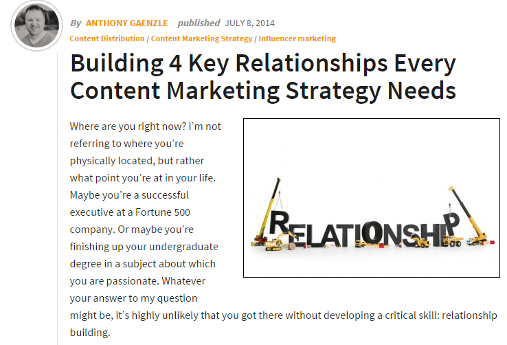 Key Relationships for Content Marketing