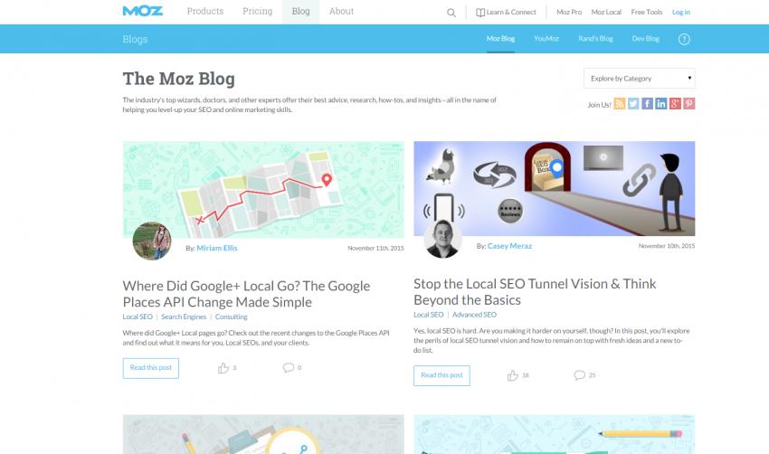 Moz Blog in 2015