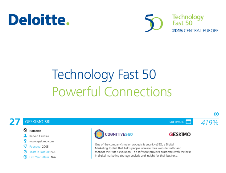Deloitte Technology Fast 50 Welcomes cognitiveSEO