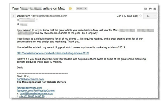 Blogger Outreach Mistakes Made and Lessons Learned - Email to David Horn from Moz