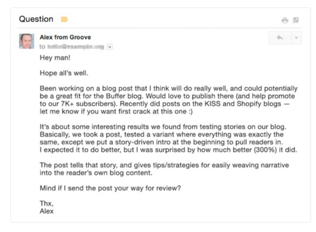 How to Write a Perfect Cold Outreach Email - Example Alex from Groove