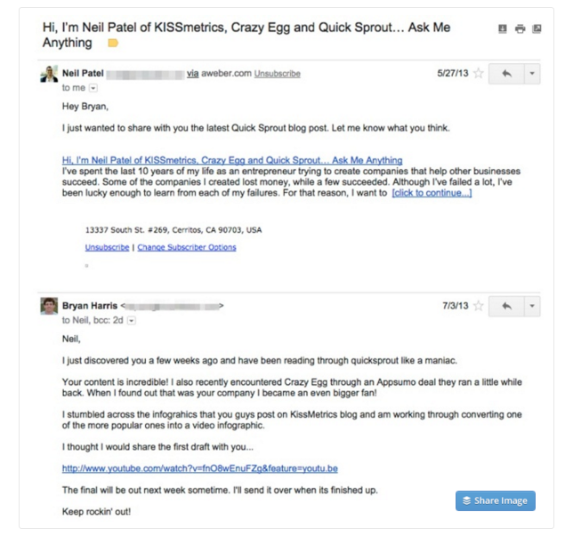 How to Write a Perfect Cold Outreach Email - Neil Patel Example