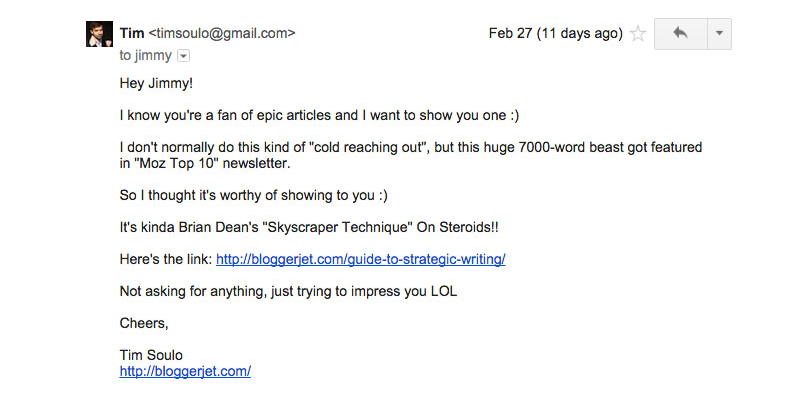Blogger Outreach - Tim Soulo Email