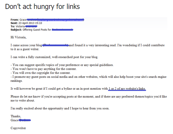 Don't Act Hungry For Links