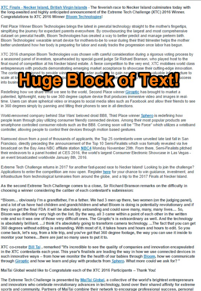 Be Concise. Spare Your Prospect the Huge Block of Text!