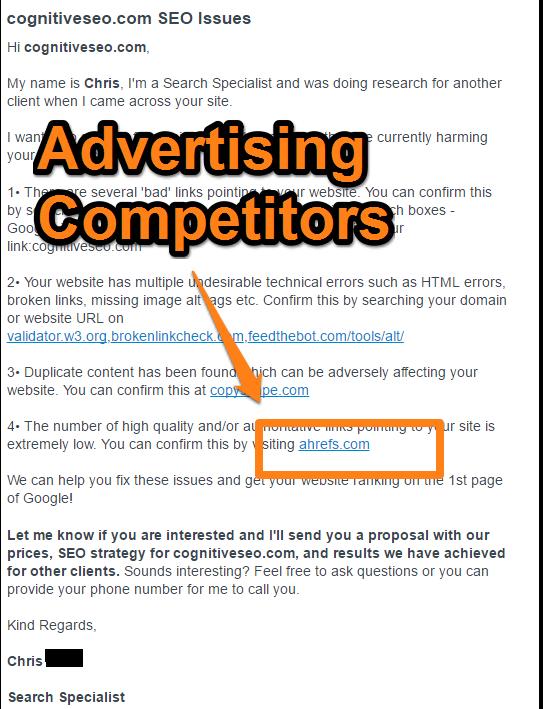 Niekada nereklamuokite savo kliento konkurentų