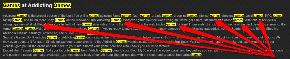 Bourrage de mots clés addictinggames.com