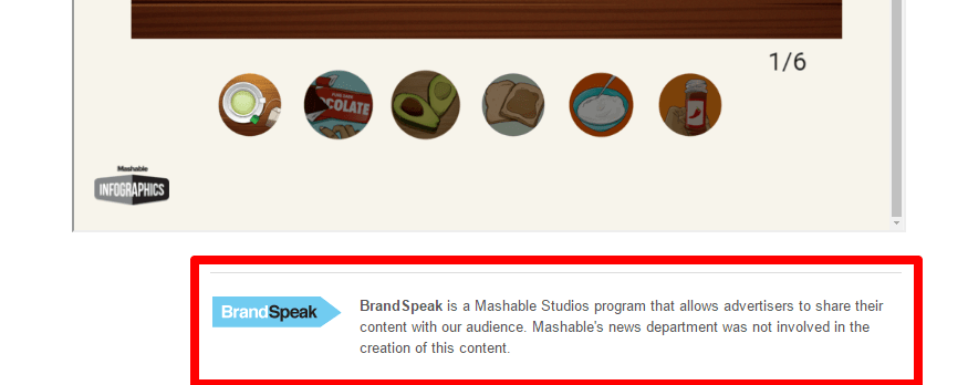 Mashable message for paid advertorials