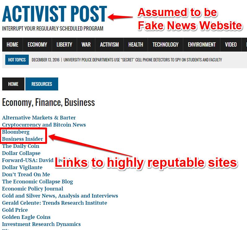 Fake News reputable Sites