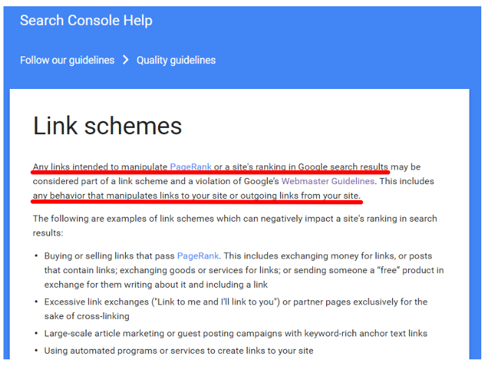 Search Console Link Schemes