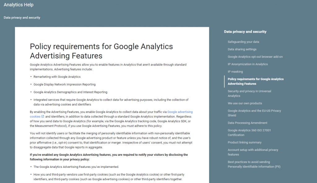 Policy requirements for Google Analytics
