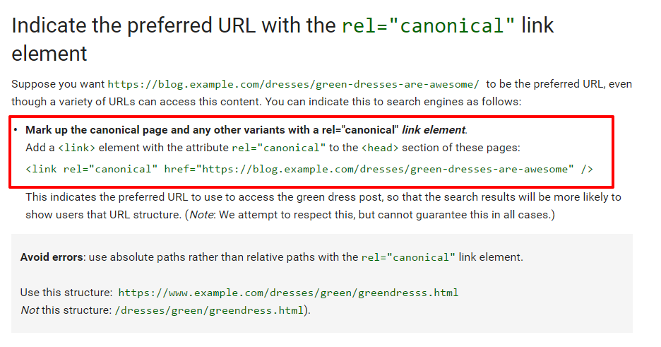 cannonical URL correct use example