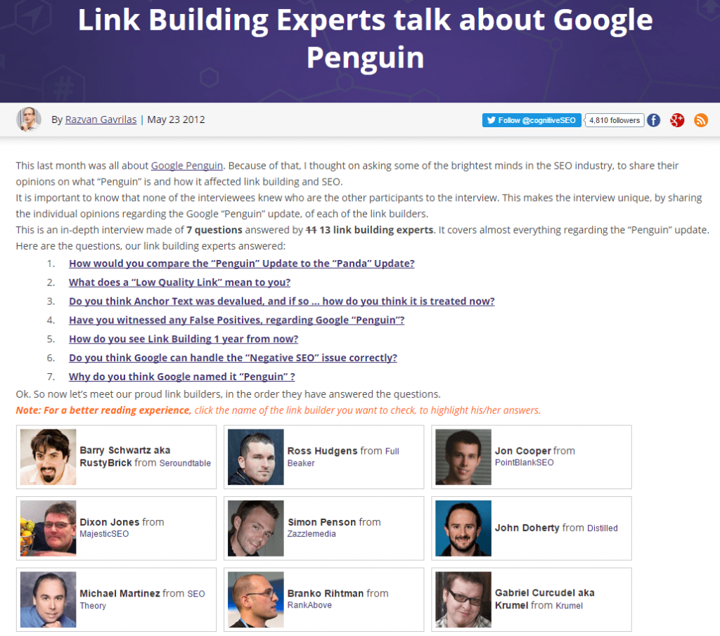 Link building experts interview