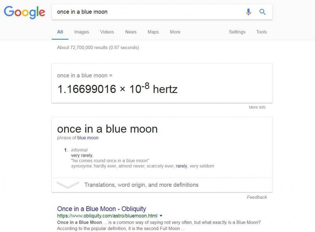 Once in a blue moon