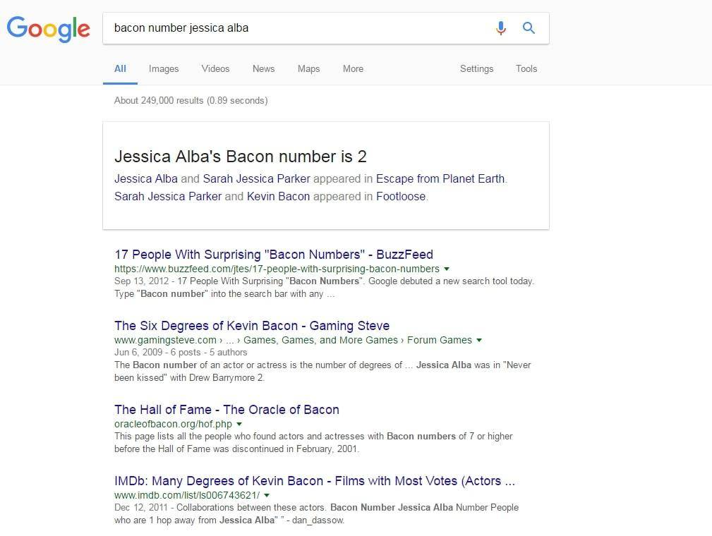 Bacon number google easter egg