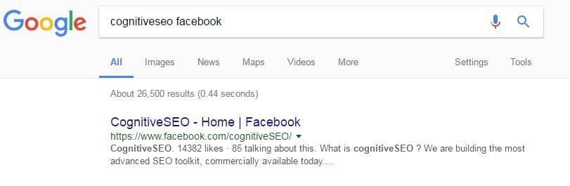 Facebook cognitiveSEO SERP
