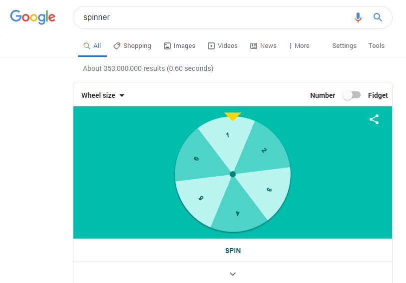 spinner google easter egg