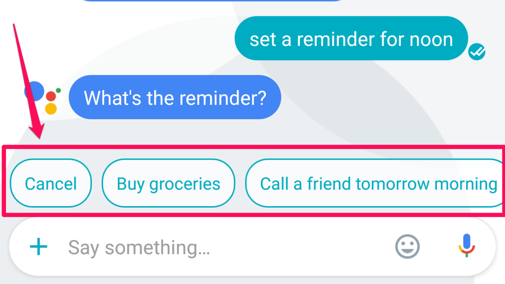 Google Assistant suggestions