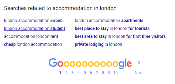 Accommodation in London search query