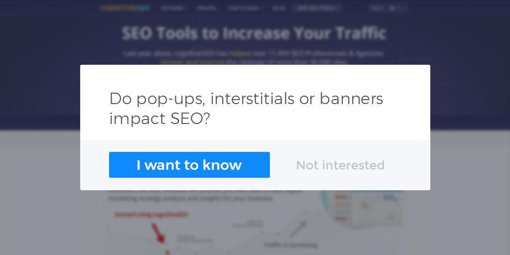 Ar iššokantys tarpinio puslapio elementai ar reklamjuostės veikia SEO